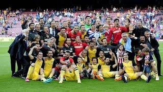 Atletico Madrid celebrating the Liga BBVA victory in Camp Nou | 13/14 | [Cropped]
