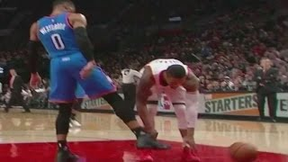 Russell Westbrook DISRESPECTS Damian Lillard, Kicks Ball Out of His Hands