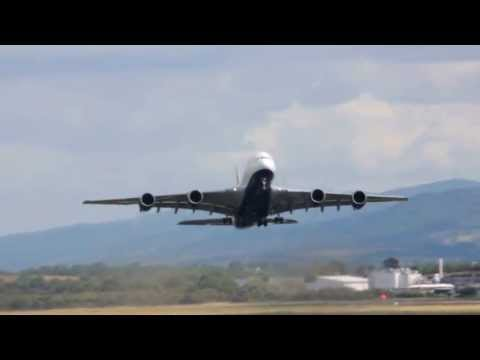 BA Airbus A380 takeoff at Shannon Airport