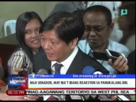 Mga senador, may iba't ibang reaksyon sa panukalang Bangsamoro Basic Law [2/11/15]
