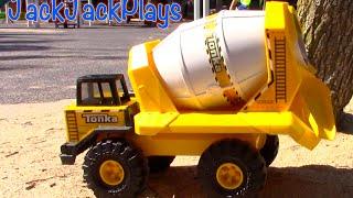 Construction Vehicles for Kids: Tonka Cement Mixer Toy UNBOXING- trucks bulldozer backhoe dump