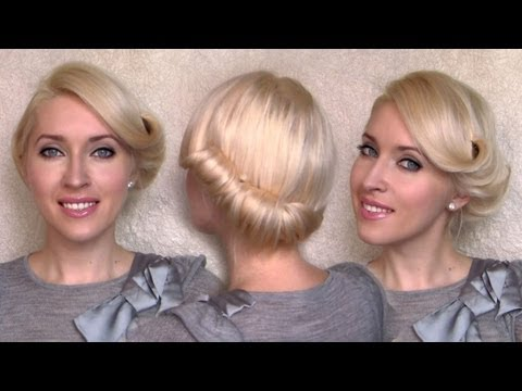 Glamorous rolled updo for medium hair tutorial Charlize Theron retro/vintage side swept hairstyle