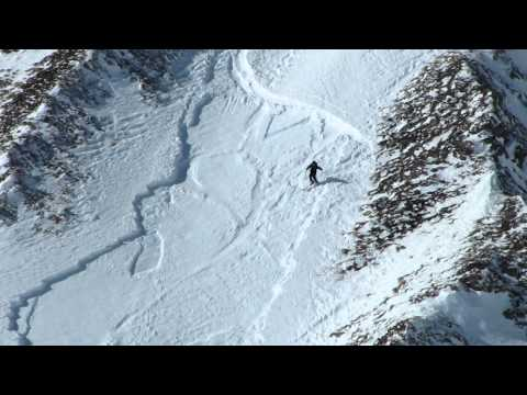 Skier and Avalanche in Tignes, France