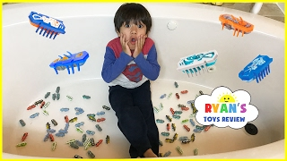 100+ HexBug Nano Toy Hunt Challenge in the Bathroom! Egg Surprise Toys for kids Lego Batman