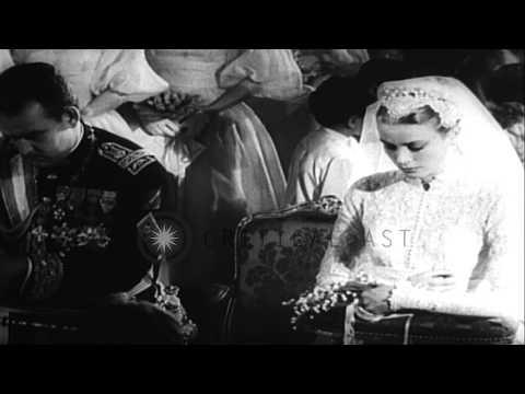 Grace Kelly gets married to Prince Rainier III of Monaco. HD Stock Footage