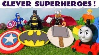 Batman Aquaman and Thor Superhero Logo with Thomas and Friends Cartoons Play Doh Stop Motion TT4U