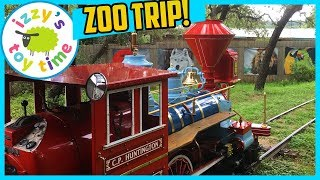 ZOO TRIP! ANIMALS and TRAINS at the Austin Zoo with Izzy's Toy Time!
