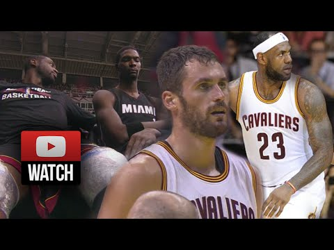 Lebron James & Kevin Love vs Dwyane Wade & Chris Bosh Battle Highlights Cavs vs Heat (2014.10.11)