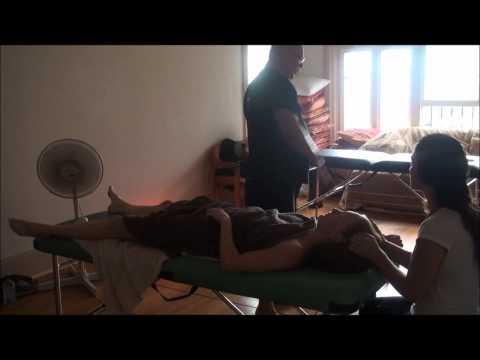 Emotional release work deep abdominal massage by Brandon Raynor part 7 of Brandon working on Julia