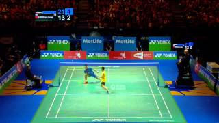 Nice badminton rally with crazy end between Lee Chong Wei and Chen Long - ALL ENGLAND 2014 MS