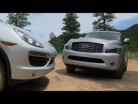 2012 Porsche Cayenne S vs Infiniti QX56 Off-Road Muddy Mashup Review