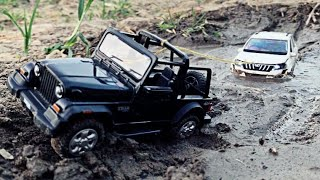 Diecast Mahindra XUV 500 & Thar Stuck In Mud & RC Huina Excavator & Mercedes Truck Pull Them Out