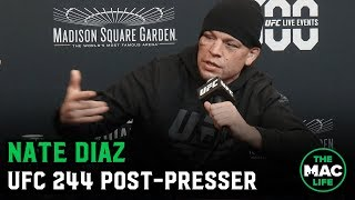 "Nate Diaz on UFC 244 stoppage: ""You sneeze on me, I bleed"" 