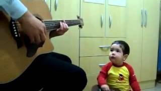 ADORABLE 2 Year Old Plays Guitar and Sings a Beatles Song With His Daddy   Cute Videos