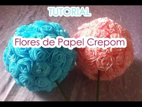 Bola de flores de Papel Crepom || TUTORIAL