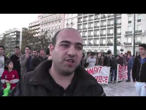 Syrian Asylum Seekers' protest in Athens Greece