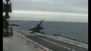 Su-33 Unsuccessful cobra landing attempt - Admiral Kuznetsov ( RuAF)