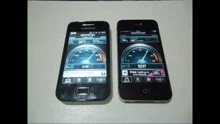 Samsung Galaxy ACE & iPhone 4 Speed Test !!!