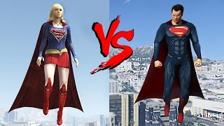 SUPERGIRL vs SUPERMAN - GTA 5 MOD EPIC BATTLE - HD 60 FPS