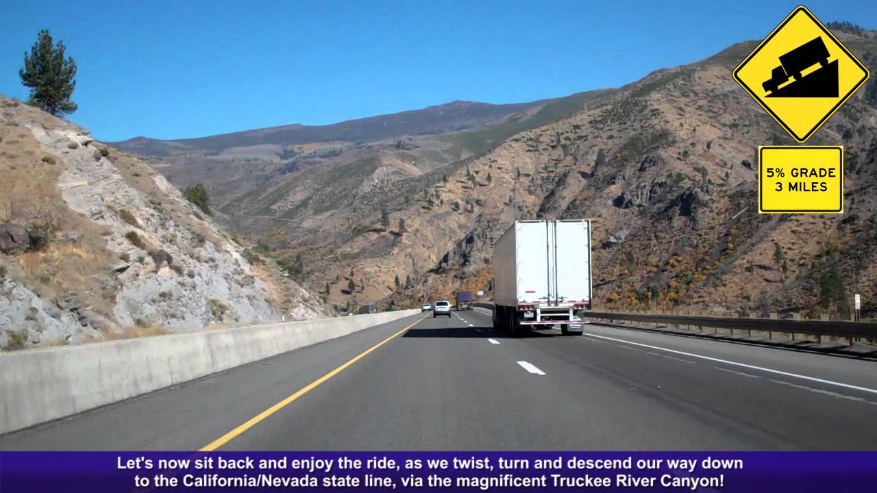 I 80 East Ca Decending Down The Sierra Nevada Mountains