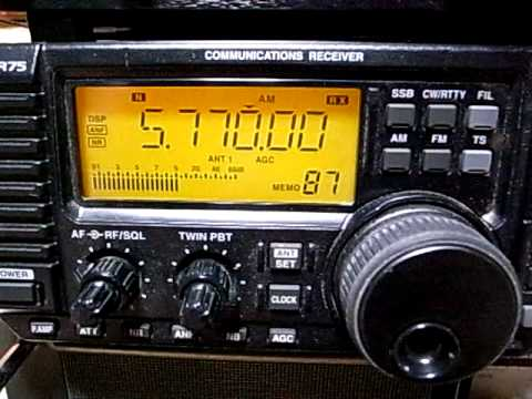 Myanmar Defence Forces Broadcasting 5770kHz Icom IC-R75 Operation