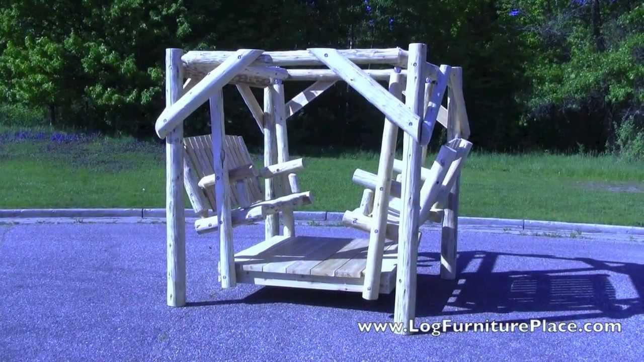 Cedar Lake Double Facing Log Swing From Logfurnitureplace