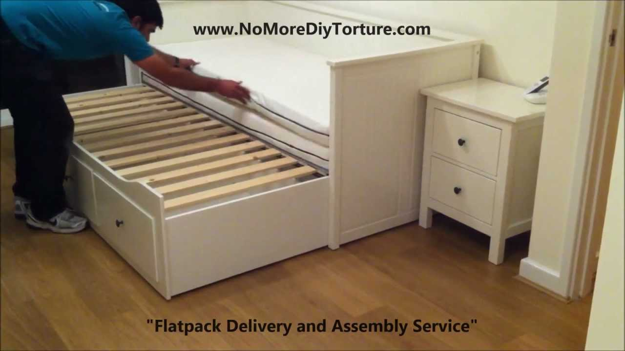 IKEA Hemnes Day (Trundle) Bed with 3 Drawers White v2 YouTube
