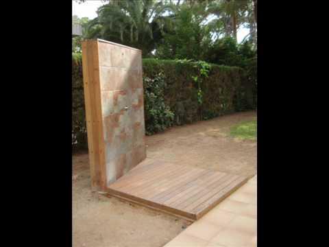 Platos de ducha con madera de exteriores youtube - Ducha de jardin ...
