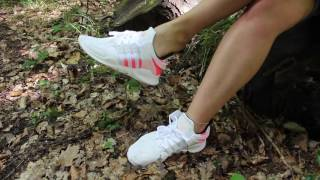 Her Adidas EQT shoeplay in forest