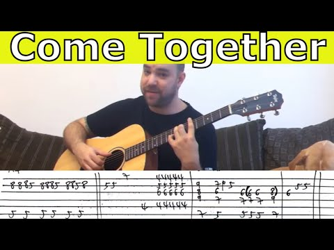 Fingerstyle Tutorial: Come Together w TAB Guitar Lesson