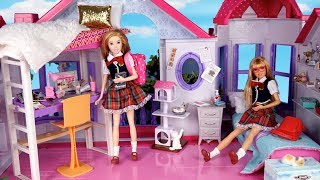 Barbie Doll New Twins School Morning Routine - Packing Backpack and Lunchbox