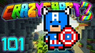 Minecraft Crazy Craft 3.0: SUPER HERO LAIR - CAPTAIN AMERICA SUIT MOD! #101 (Modded Roleplay)