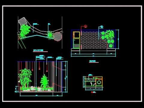 【建築家autocad圖庫】庭園設計、園藝造景、水池瀑布 園藝 室內造景 Youtube