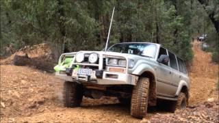 80 series landcruiser woods point hillclimb slippery steep mud clay rock 4wd 4x4 off road