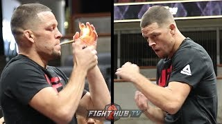 HILARIOUS! NATE DIAZ LIGHTS UP FAT JOINT BEFORE WORKOUT! SHOWS OFF VINTAGE HAND SPEED!
