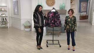 Dennis Basso Printed Quilted Puffer Jacket w/ Faux Leather Trim on QVC