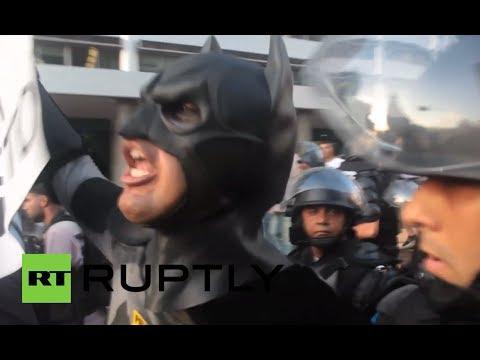 'FIFA, pay my fare!': Brazilians protest transport hikes in Rio de Janeiro