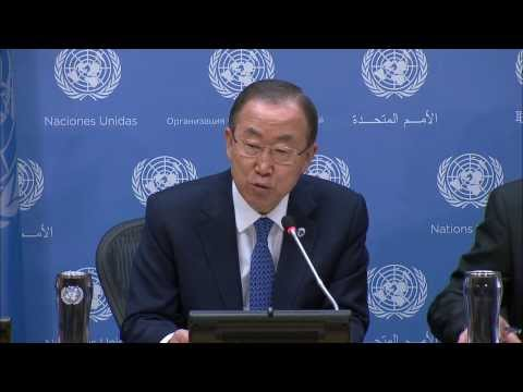 UN Secretary-General Ban Ki-moon at the press conference on the 68th session of the General Assembly