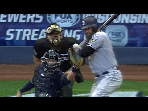 SD@MIL: Norris leaves the game after HBP on his hand