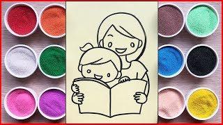 Đồ chơi trẻ em TÔ MÀU TRANH CÁT MẸ VÀ CON - Colored sand painting toys (Chim Xinh)