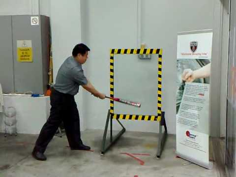 WinShield Security Film - 8mm float glass with 12 mil security film laminated. Video