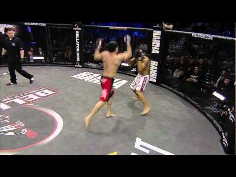 Bellator 39 moment Patricky Pitbull delivers a devastating flying knee to Toby Imada