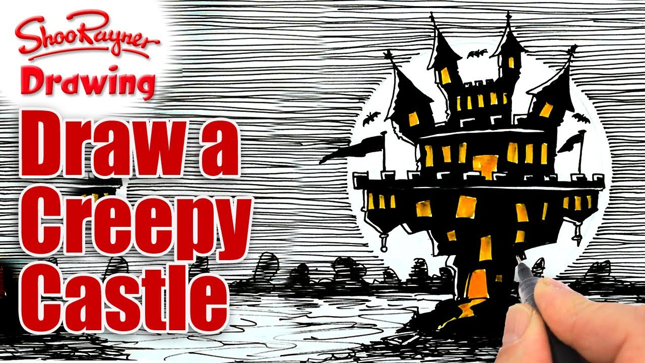 how to draw a creepy house step by step