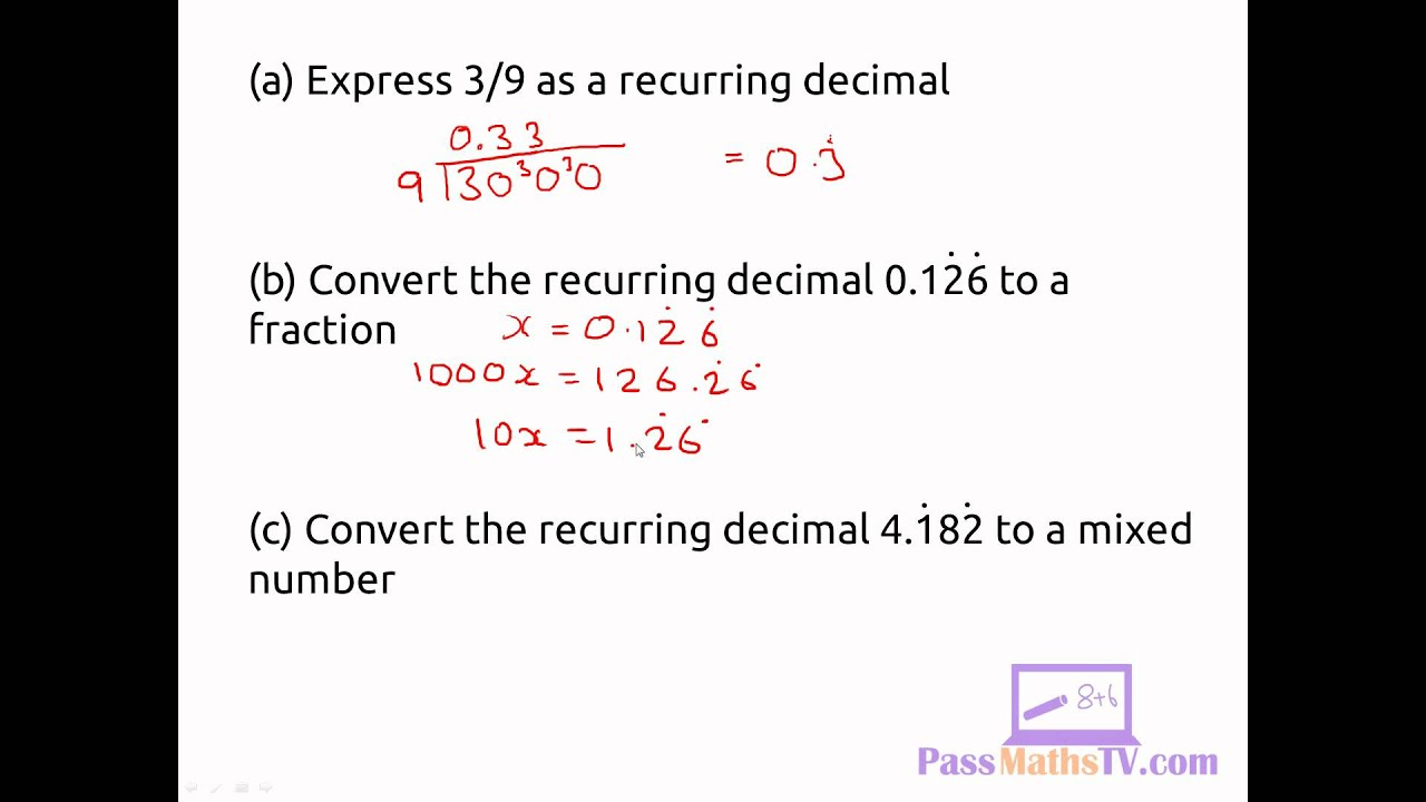 Recurring decimals to fractions worksheet answers