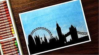Download London Moonlight Scenery Drawing With Oil Pastels Step By