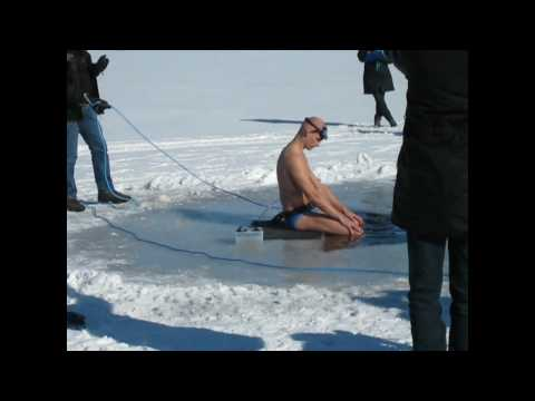 Ry Denmark distance freediving 72 meters under ice.