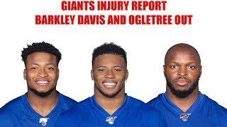 New York Giants Injury Report- Saquon Barkley, Tae Davis, Alec Ogletree all ruled out.
