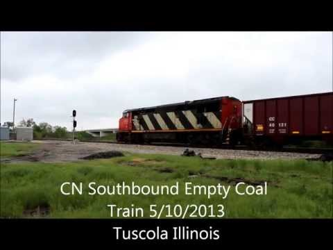 CN Barn C40-8M Leads CC Coal Cars South at Tuscola Illinois