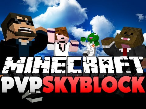 Minecraft PvP SkyBlock - WATER BATTLE!! (JeromeASF, Deadlox, and Kermit)