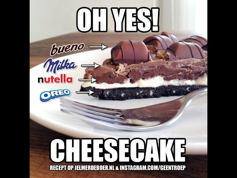 How to make a Milka Oreo Kinder Bueno Nutella cheesecake -Milka Oreo Kinder Bueno Nutella sajttorta